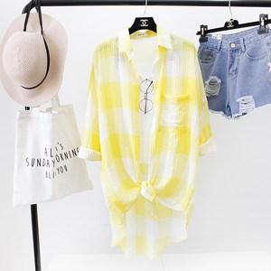 。韩版中长款宽松格子衬衫女2020春夏装新款前短后长防晒