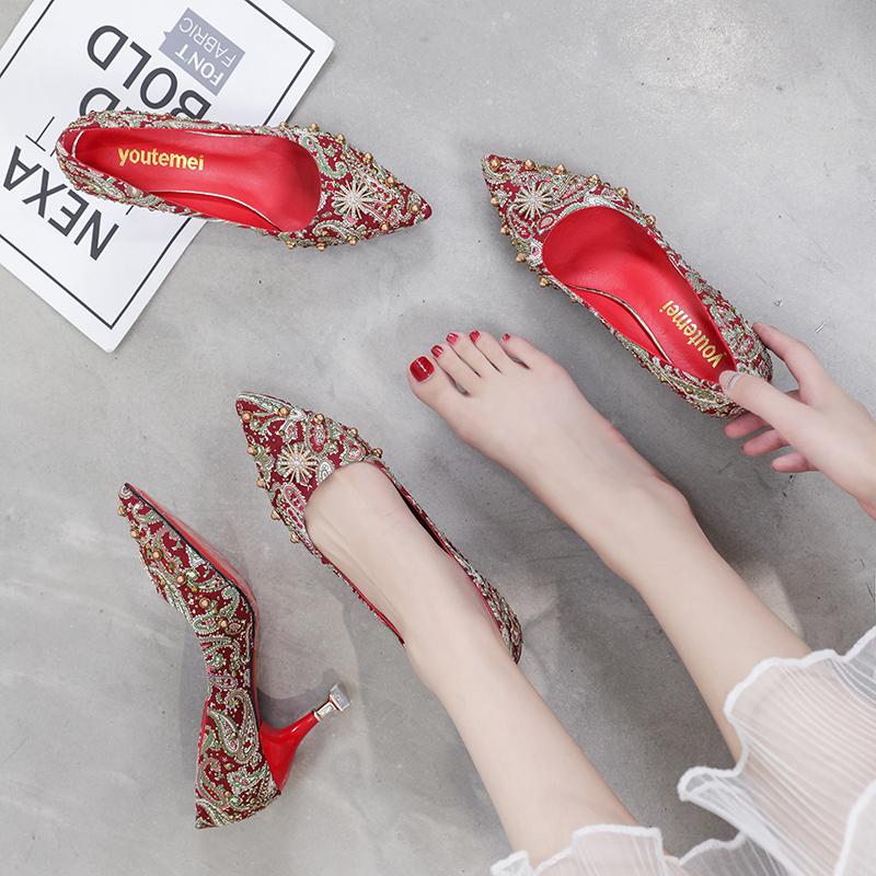 秀禾服大红色婚鞋女中式孕妇网红高跟鞋伴娘鞋结婚鞋子新娘鞋粗跟