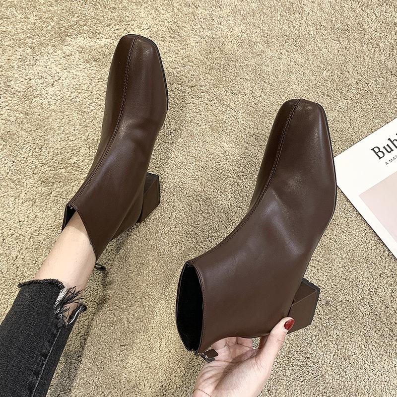 马丁靴d2019女英伦风后拉链粗跟高跟方头百搭短靴女靴子冬季加绒