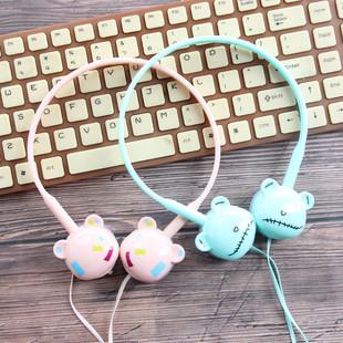 学生耳机女生头戴式电脑可爱 韩国 迷你耳机线控带麦K歌 手机通用