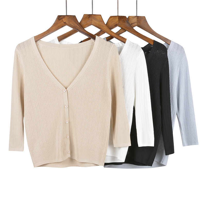 实拍实价2020春夏新款针织开衫长袖外穿上衣女外套薄款宽松