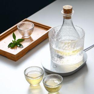 日式玻璃酒具套装锤目纹酒盅酒壶小酒杯清酒壶恒温器烫酒壶温酒器