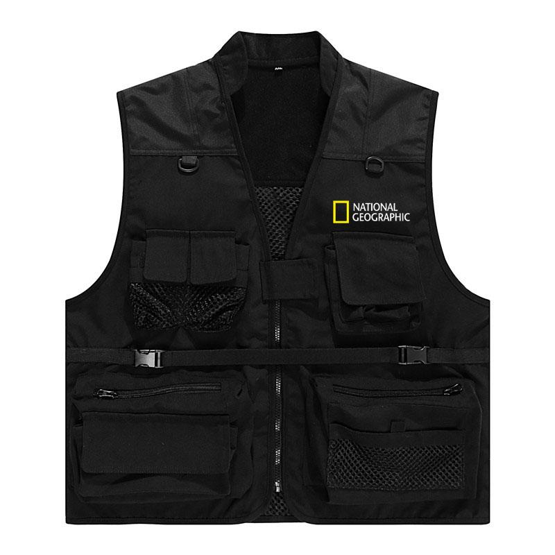 Photo vest custom printed logo vest multi pocket spring summer autumn winter vest National Geographic director trend overalls