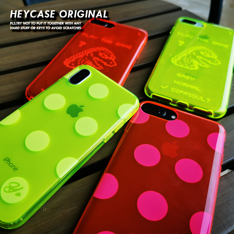 Heycase荧光红色波点手机壳适用于XR苹果套透明绿XSMAX圆个性678P