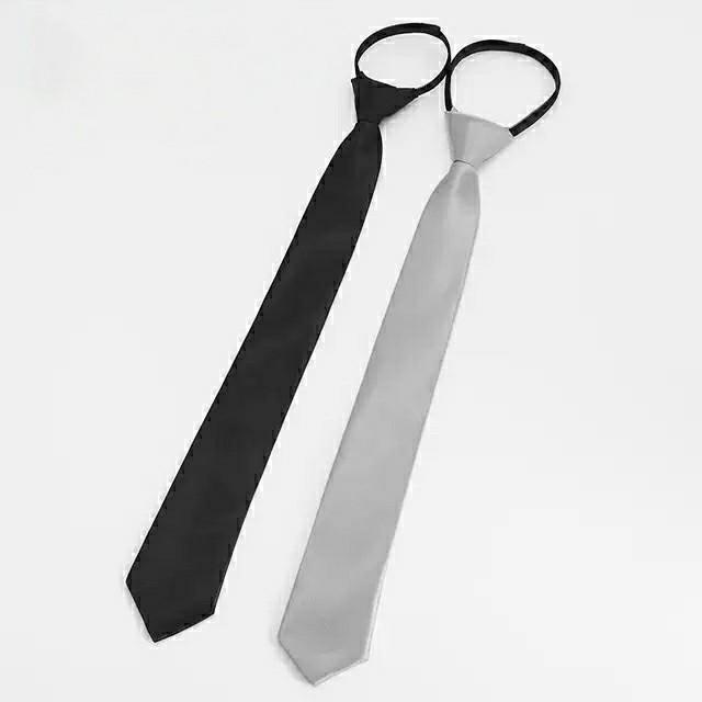 日系免打领带男女学生商务黑色银色拉链5cm懒人休闲领带正装手打
