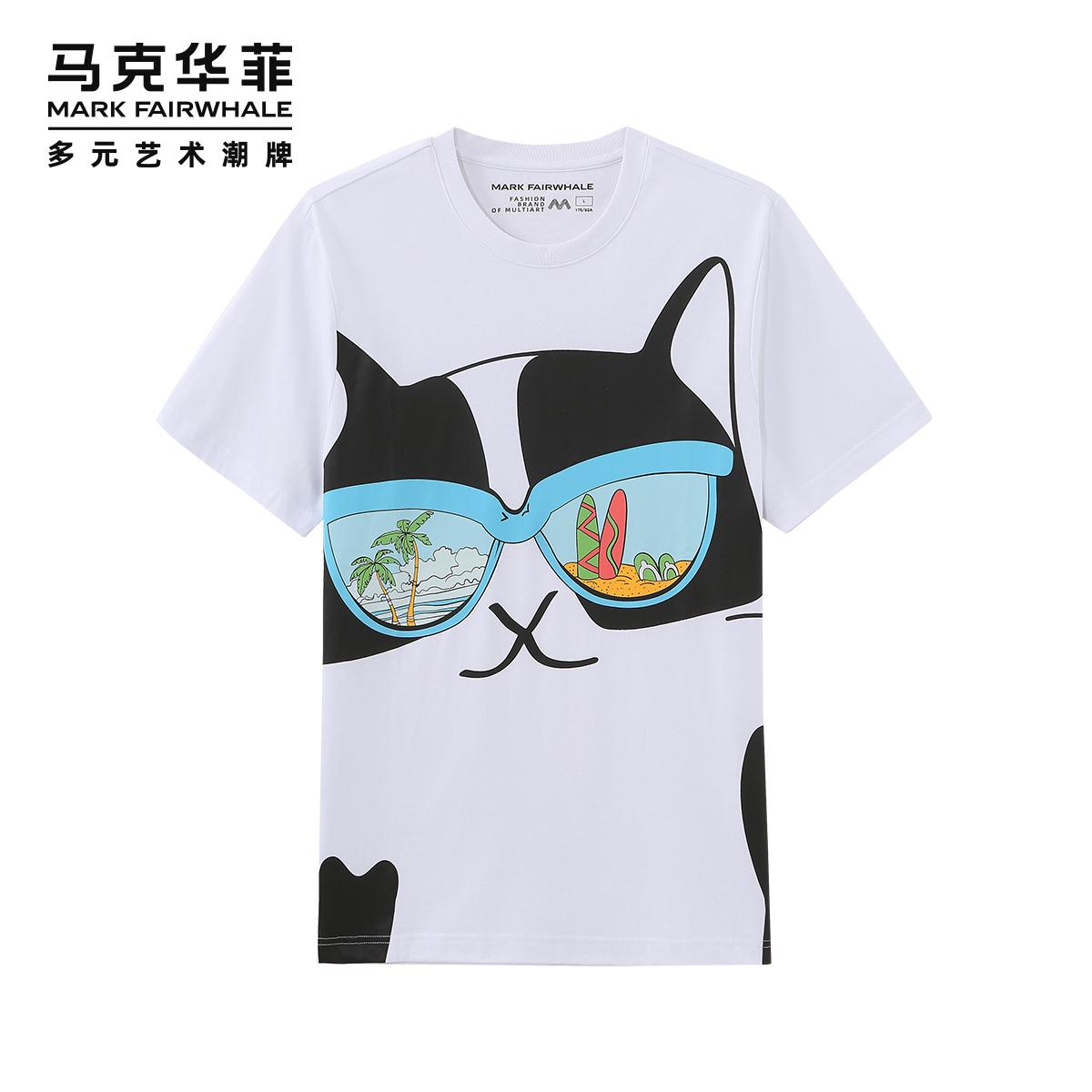 [新]马克华菲短袖T恤2020夏季新款男士大猫咪满印花潮情侣上衣