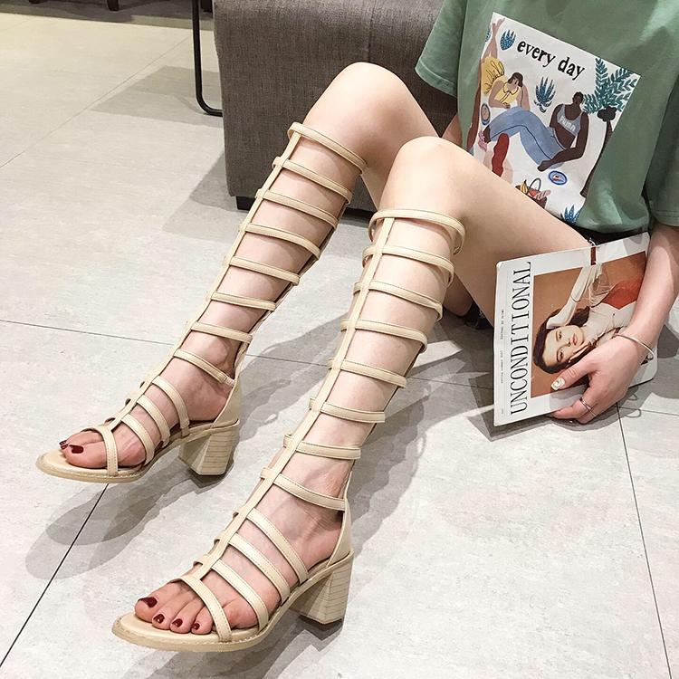 高筒罗马露趾凉靴2019夏新款绑带高跟长筒靴粗跟镂空靴子凉鞋女鞋