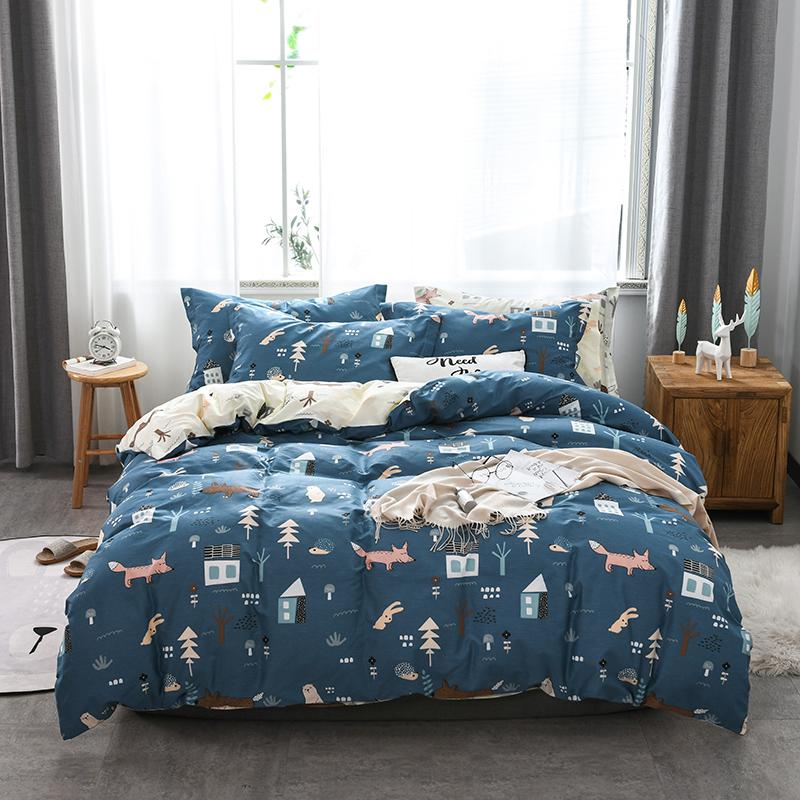 Jiahess new cotton 4-piece bed linen sheet quilt cover mysterious forest