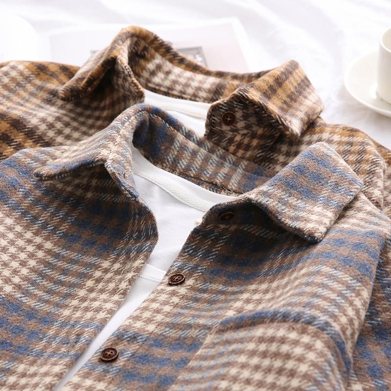。复古港味ins秋冬衬衣新品加厚磨毛宽松毛呢外套女式长袖格子衬