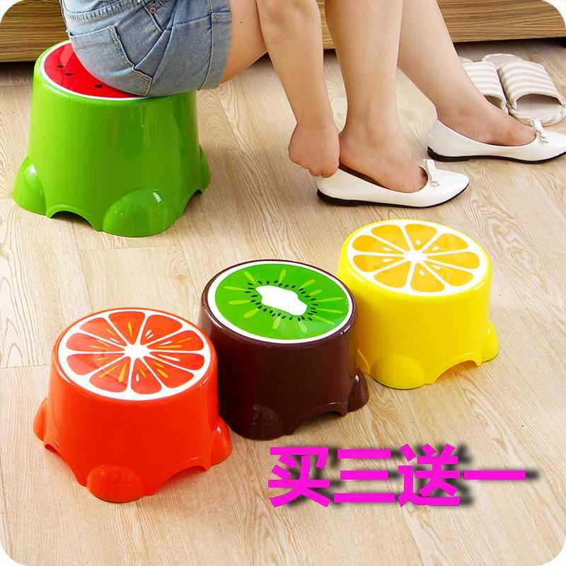 水果凳子小板凳可爱塑料凳圆凳宝宝卡通脚凳矮凳板凳易收纳洗脚凳,可领取元淘宝优惠券