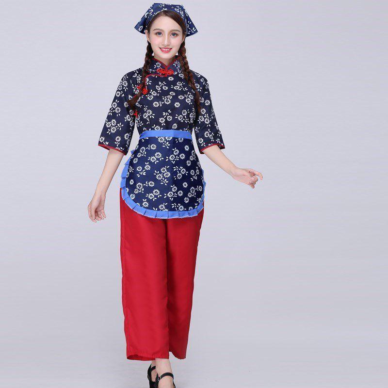 阿庆嫂话剧铁梅村姑服农村抗战女媒婆李奶奶小品采茶女表演服