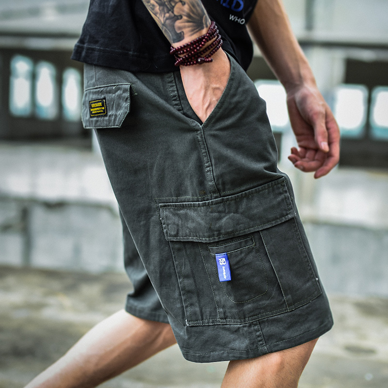 Overalls mens shorts fashion brand summer loose casual camouflage pants Hong Kong style trend versatile ins 5-point pants