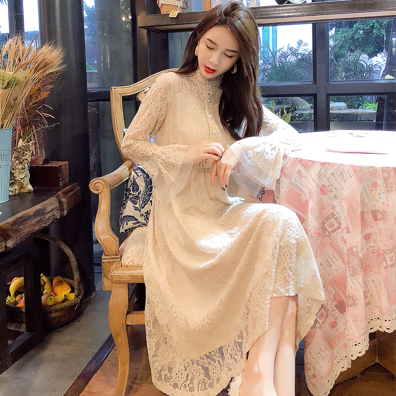 New womens dress in early autumn 2020 fashion screen bottomed long skirt slim long sleeve half high collar lace dress