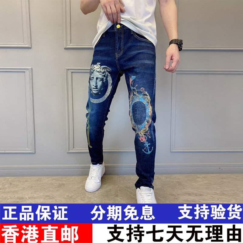 Medusa Europe station autumn / winter 2020 personalized print slim jeans mens trend casual authentic men