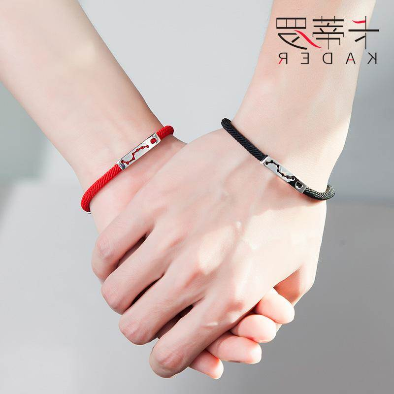 Lovers Bracelet a pair of Korean version of students men and women pure silver simple retro engraved red string jewelry Christmas gift