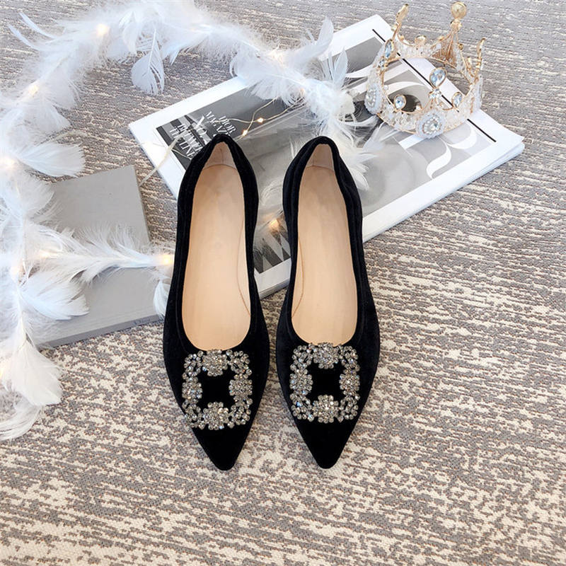Egg roll shoes pointed velvet Rhinestone Buckle ultra soft flat sole womens shoes leather comfort super ballet single shoes