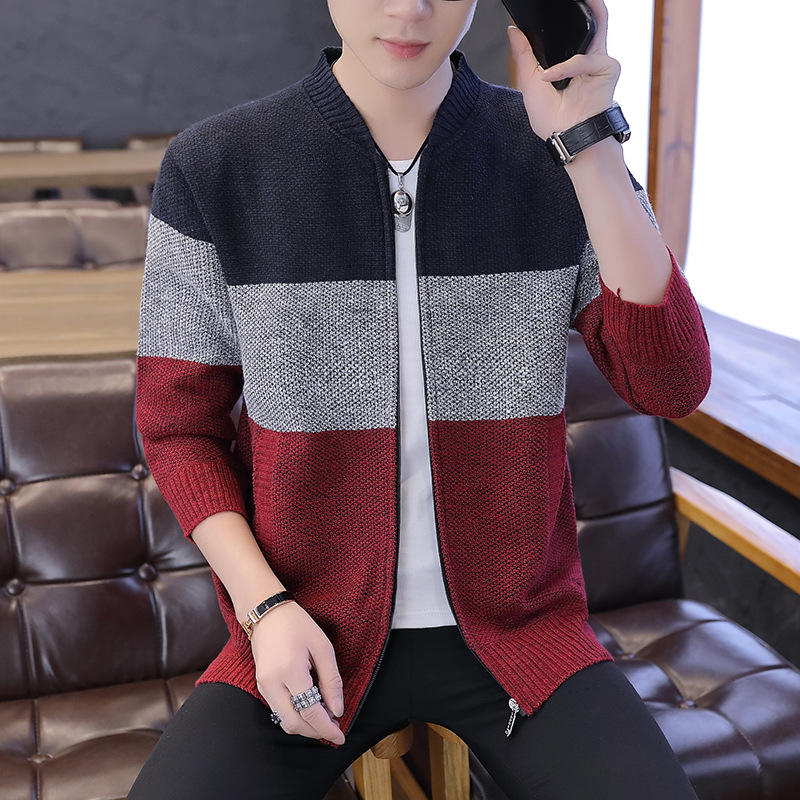 2020 new autumn and winter mens thickened sweater cardigan baseball collar jacket coat mens Long Sleeve Sweater Jacket