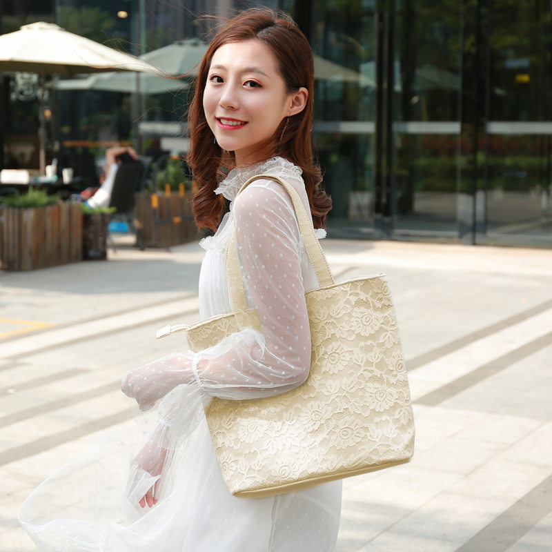 New lace lady bag fairy Shopping Bag Canvas large capacity zipper handbag one shoulder embroidery Tote versatile summer
