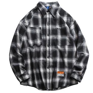 日系复古格子男宽松长袖秋冬季衬衫