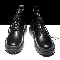 马丁靴男英伦风中帮秋冬季加绒新款2020潮鞋百搭韩版男鞋高帮皮靴