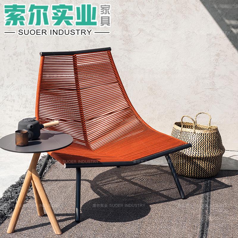 户外编藤绳单人沙发椅北欧别墅躺椅阳台室外客厅庭院设计师休闲椅