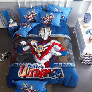 男孩卡通全棉三四件套纯棉1.51.8m儿童床上1.2单人床单被套奥特曼图片