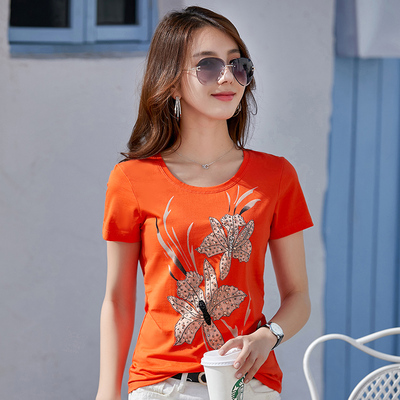 重工t恤女短袖2021夏装新款韩版镶钻T夏季修身上衣潮纯棉体恤烫钻