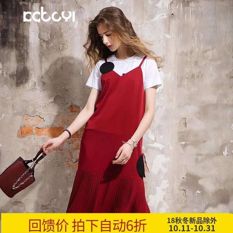 卡布依限量版原创设计师品牌女装夏季新品中长款酒红色吊带连衣裙