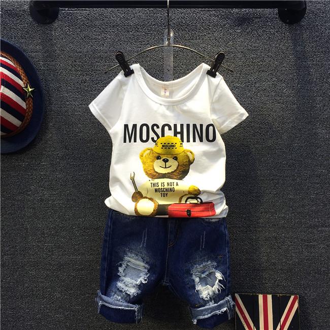 Детский короткий рукав t рубашка лета 2016 нейтральной новой корейской версии мальчики девочки милые маленькие медведь рубашки с короткими рукавами t рубашка
