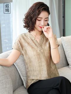 女棉麻短袖上衣亚麻棉宽松夏2020新款韩版大码亚麻t恤衬衫潮