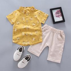 宝宝夏装套装2020新款短袖衬衫韩版儿童男童装夏季男孩两件套潮衣