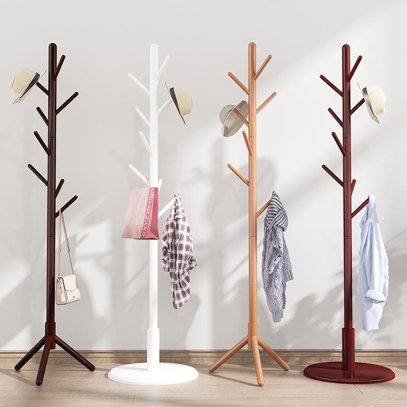 实木衣帽架卧室内简易家用晾衣架落地现代单杆式收纳挂衣架挂包架