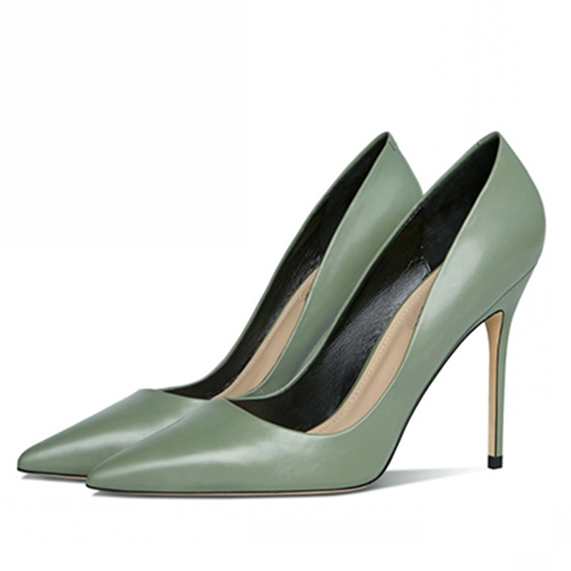 2021 new pointed leather professional Stiletto High Heels working womens light mouth wipe green small size 31 32 33 shoes