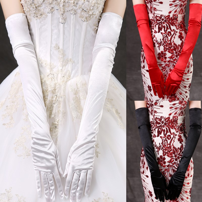Wedding bride wedding gloves spring and autumn Dress Satin super long elbow over solid red white rice black elastic gloves