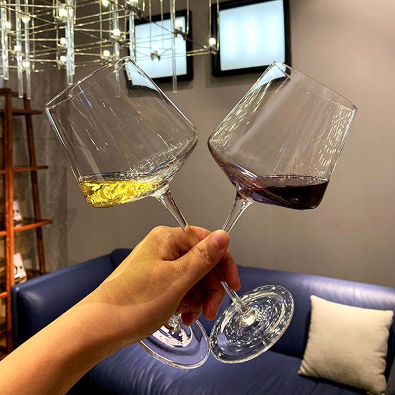 59.00元包邮高脚杯ins一对2支 微瑕 欧式创意个性家用勃艮第水晶葡萄酒红酒杯