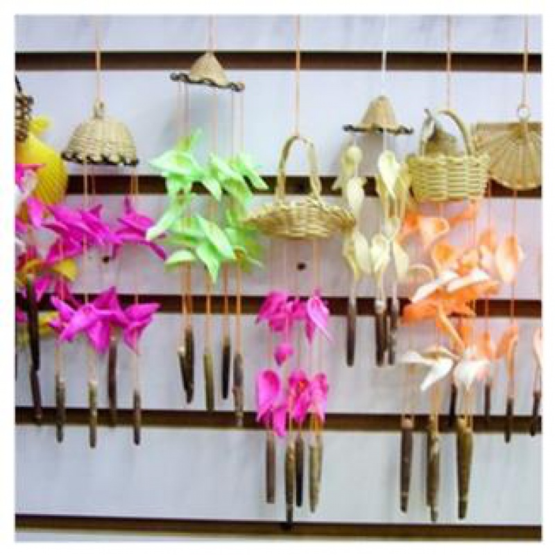 ? Natural garden crafts hanging bamboo basket conch shell small wind chime birthday gift home decoration collection