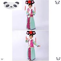 儿童古装清朝格格服装满族舞蹈女童公主宫廷有一个姑娘幼儿演出服