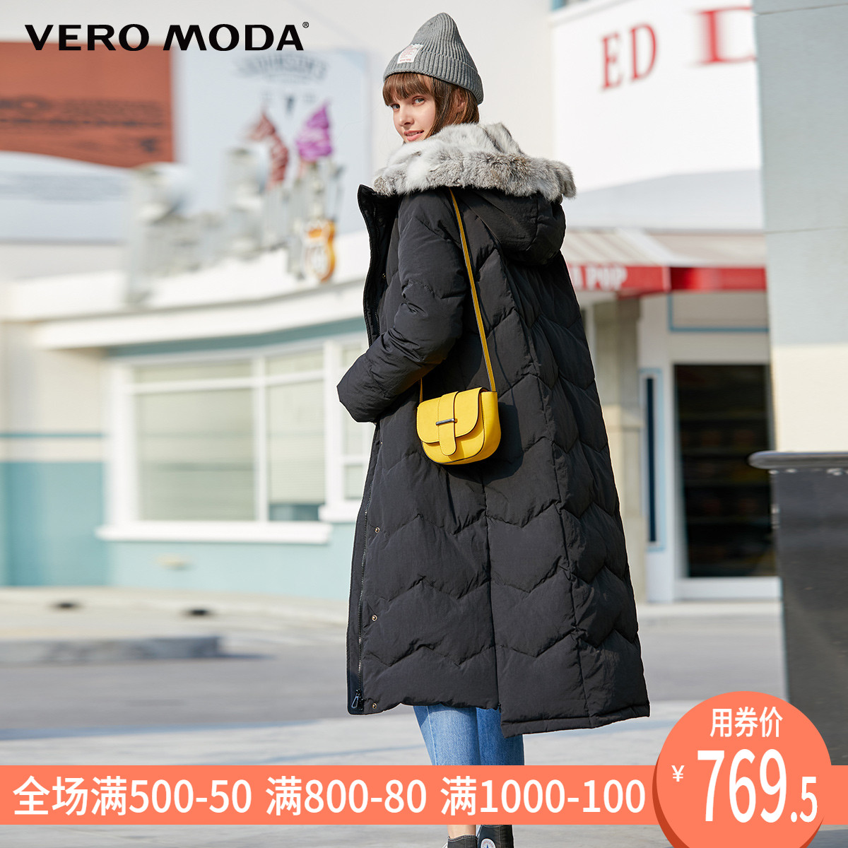 Vero moda2019 autumn and winter white duck down rabbit fur long down jacket for women 319312509