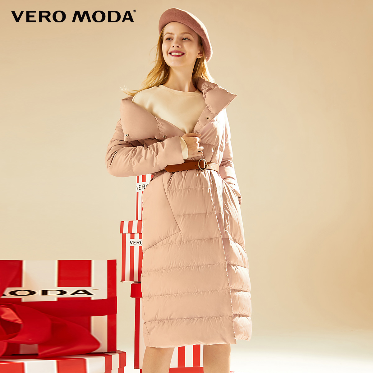 Vero moda2019 fall and winter with 90% duck down pillow collar long down jacket for women 319312505