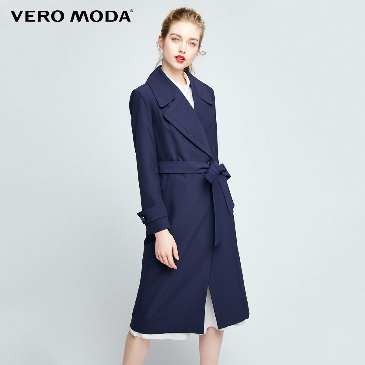 Vero Moda2017秋季新款翻领腰带装饰中长款风衣外套|317321514
