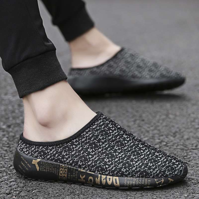 One legged slacker shoes for boys and middle school students, rootless and heedless, half slipper pattern, knitting shoes, canvas shoes, cooling shoes