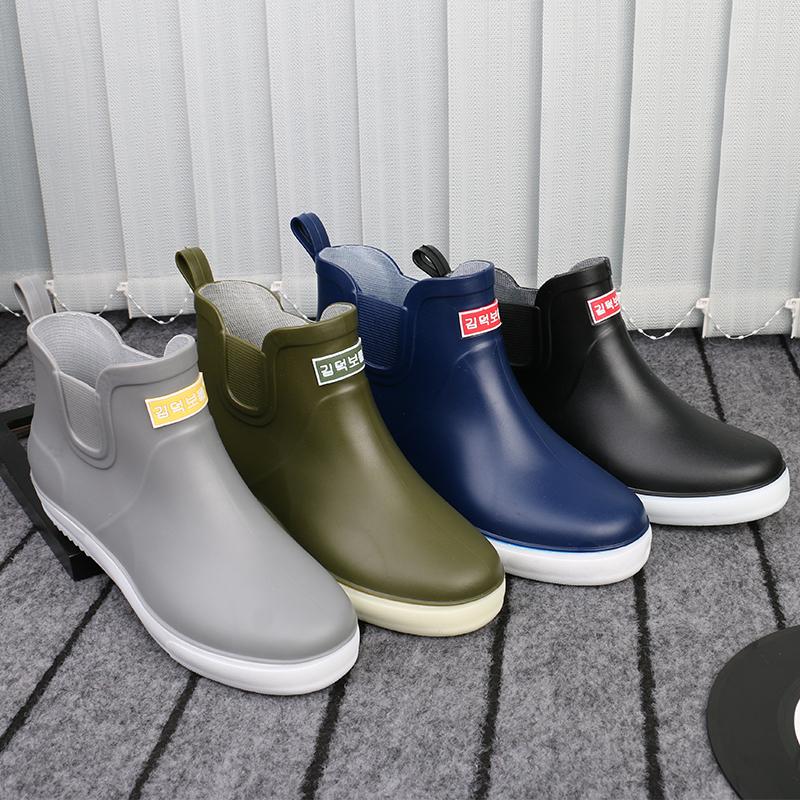 短筒雨靴男性冬の綿保温雨靴滑り止め防水靴カバー板前靴