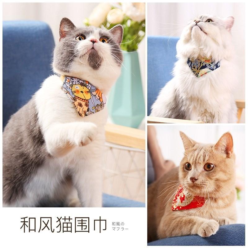 。宠物三角巾小型猫咪三角巾柴犬围巾三角巾和风狗狗口水巾装饰品