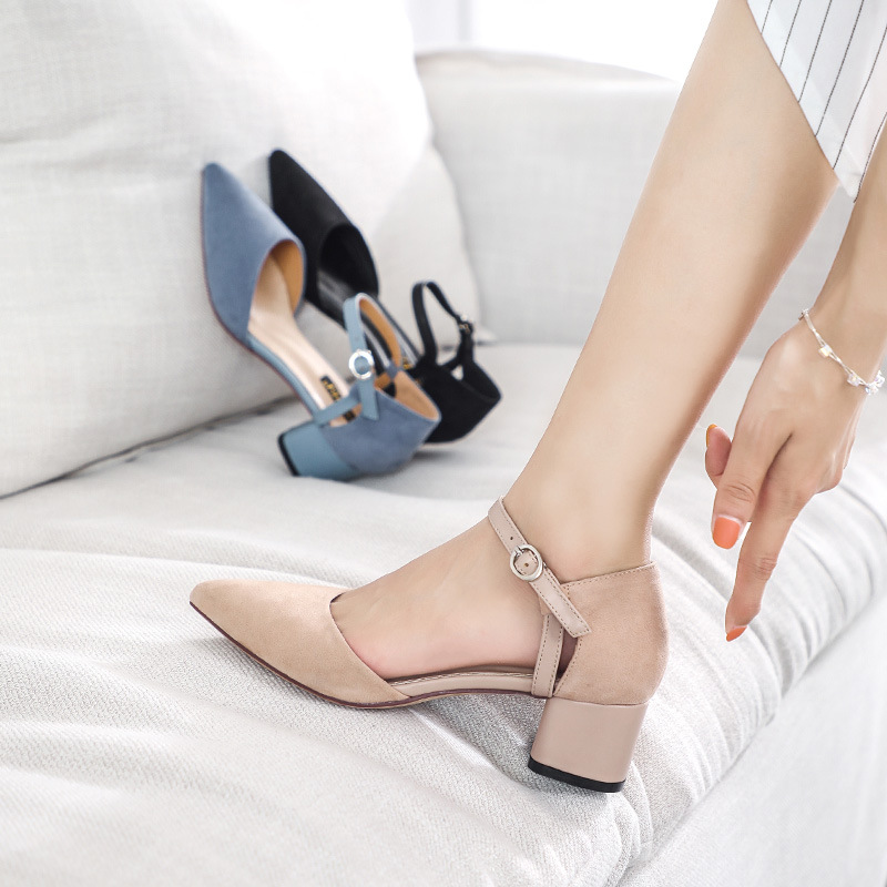Fairy womens shoes gentle high heel sweet Mary Jane shoes womens shoes late evening wind thick heel sandals 2 cm medium heel pointed shoes