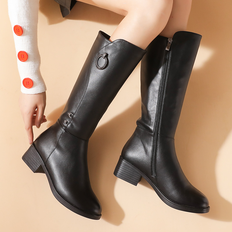 Mothers boots childrens winter middle-sized boots high cotton shoes flat bottom thick heel Plush middle-aged shoes thick heel middle-aged and elderly