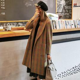 毛呢大衣女格纹系带中长款冬季收腰显瘦复古流行呢子气质羊毛外套