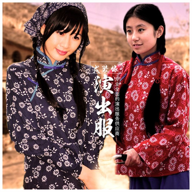 Ten send Red Army Village Girl costumes custom made old woman drama role play of middle aged and old people