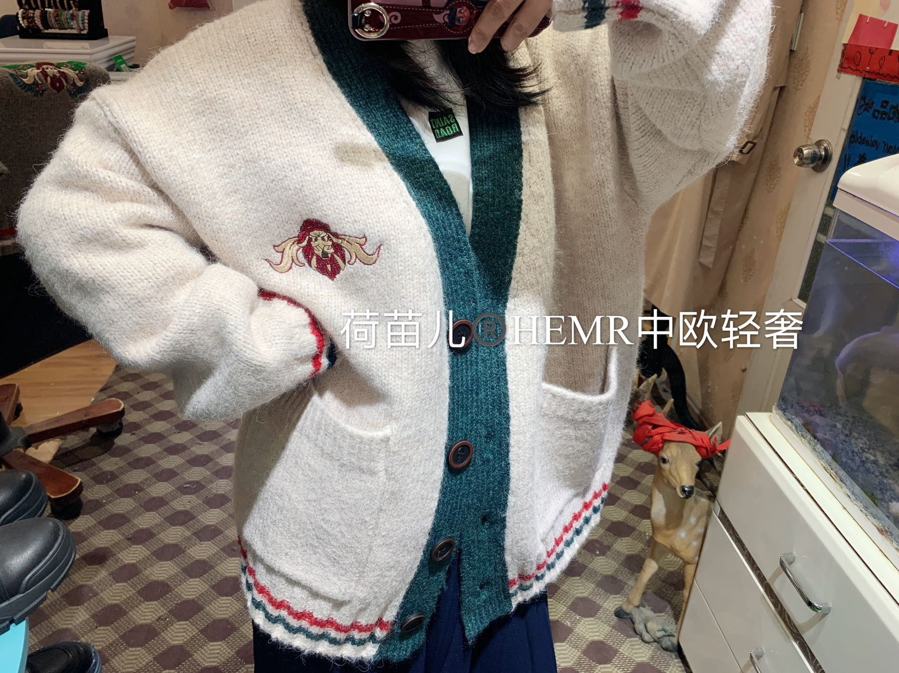 Hmel 2020 Europe Korea relaxed college style womens new cashmere blended sweater knitted cardigan coat