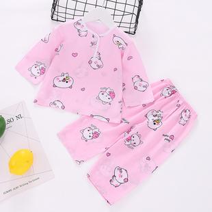 薄款 套装 儿童绵绸睡衣夏季 男童女童空调服宝宝人造棉夏天棉绸长袖