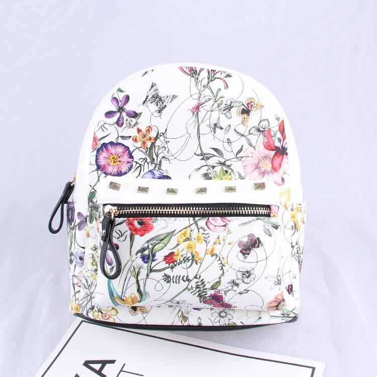 韩版潮书包碎花休闲学院风女生背包女士双肩包小包A015